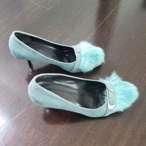 Teal heels with fur